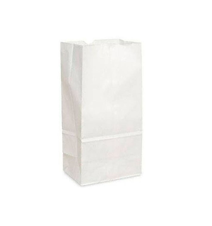 Sacchetto di Carta Kraft Bianco 12+8x24cm (25 Pezzi)