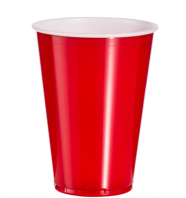 Bicchiere Rosso Plastica di PS 10 Oz/300ml (50 Pezzi)