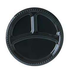 Piatto di Plastica Party PS Piano Nero con 3 Scomparti Ø260mm (25 Pezzi)