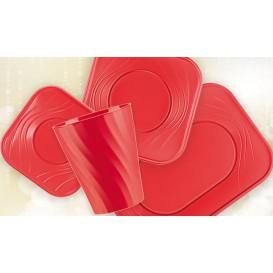 """Piatto di Plastica PP """"X-Table"""" Piazza Piano Rosso 230mm (8 Pezzi)"""