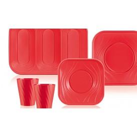 """Piatto di Plastica PP """"X-Table"""" Piazza Piano Rosso 180mm (8 Pezzi)"""
