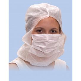 Cuffia integrale con mascherina 3 Strati Bianco (500 Pezzi)