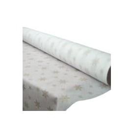"""Tovaglia Rotolo Non Tessuto Bianco """"Stelle""""in Oro 1,2x50m 50g (1 Unità)"""