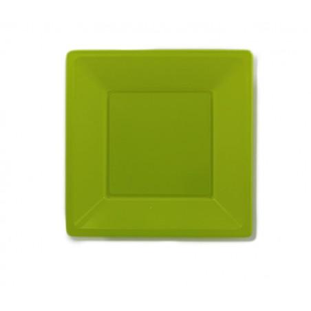 Piatto Plastica Piano Quadrato Verde Pistacchio 170mm (5 Pezzi)