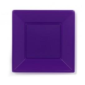 Piatto Plastica Piano Quadrato Lilla 230mm (25 Pezzi)