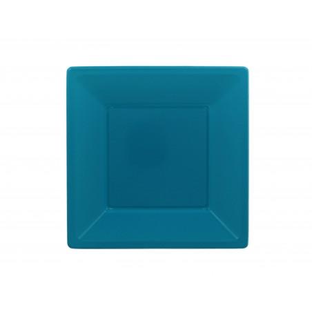 Piatto Plastica Piano Quadrato Turchese 230mm ( 25 Pezzi)