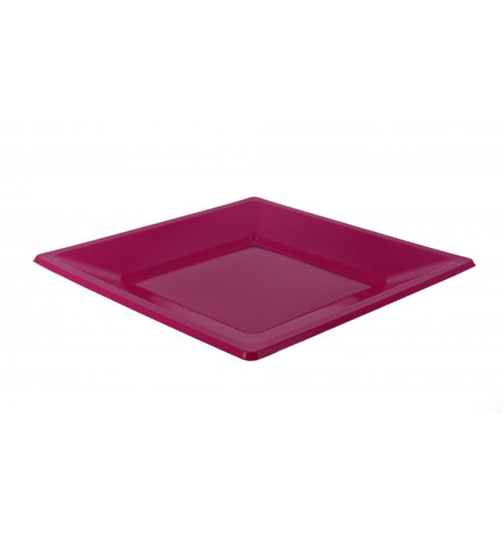 Piatto Plastica Piano Quadrato Fucsia 170mm (25 Pezzi)