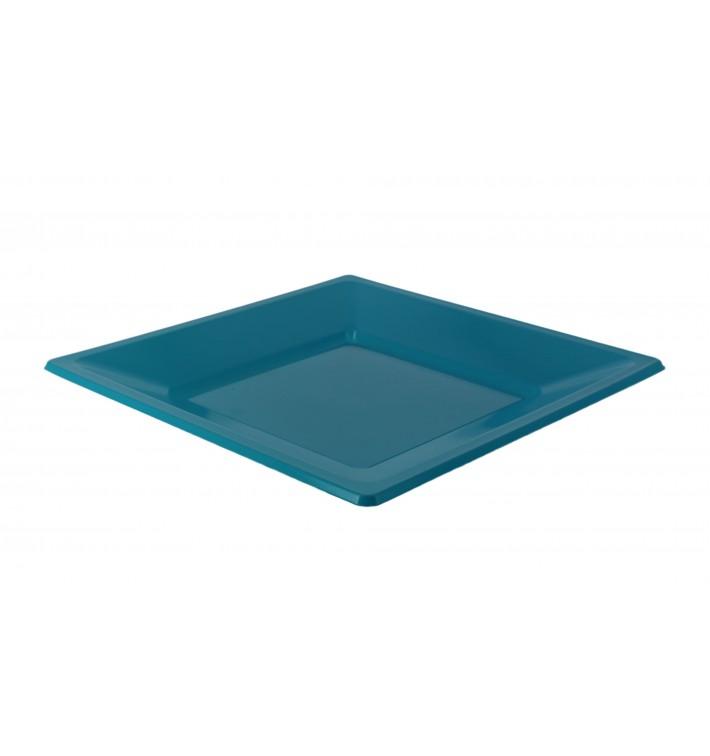 Piatto Plastica Piano Quadrato Turchese 170mm (25 Pezzi )