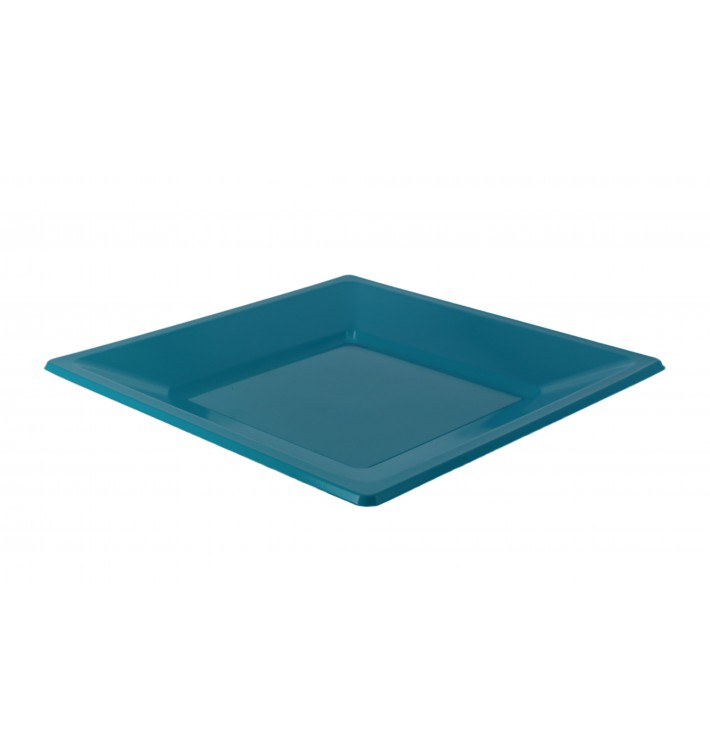 Piatto Plastica Piano Quadrato Turchese 230mm (25 Pezzi)