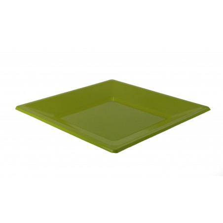 Piatto Plastica Piano Quadrato Pistacchio 230mm (3 Pezzi)