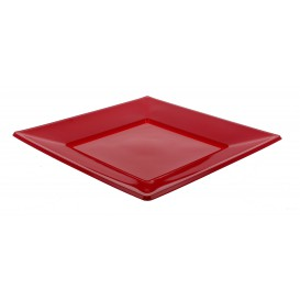 Piatto Plastica Piano Quadrato Bordò 230mm (5 Pezzi)