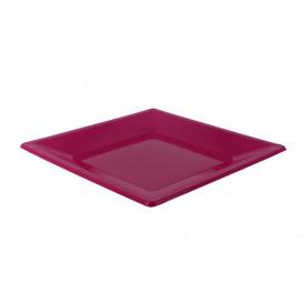 Piatto Plastica Piano Quadrato Fucsia 230mm (3 Pezzi)