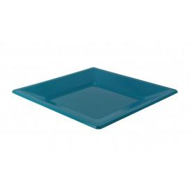 Piatto Plastica Piano Quadrato Turchese 170mm (5 Pezzi )
