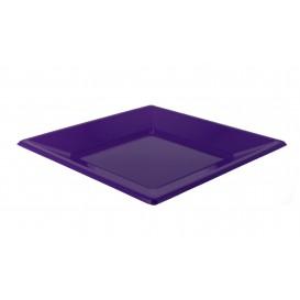 Piatto Plastica Piano Quadrato Lilla 170mm (25 Pezzi)