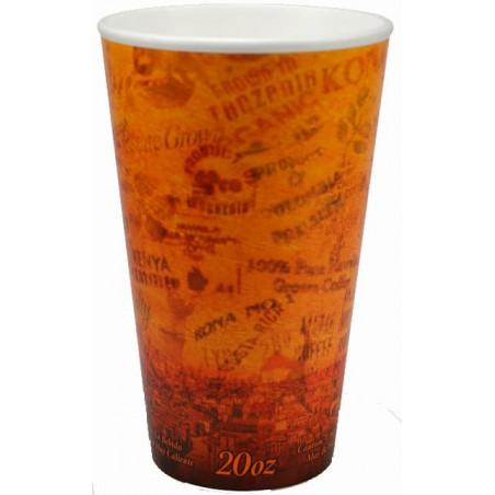 "Bicchiere Termici EPS ""Fusion"" Arancione 20Oz/591ml Ø9,4cm (20 Pezzi)"