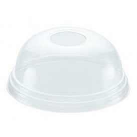 Coperchio a Cupola con Foro per Bicchieri PET 420ml Ø9,3cm (100 Pezzi)