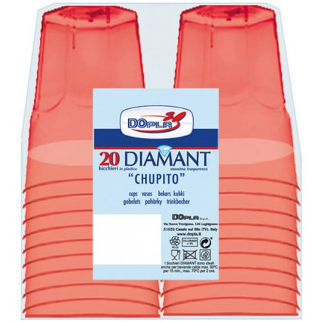 "Bicchiere Plastica ""Diamant"" PS Rosso Transp. Cristal 50ml (20 Uds)"