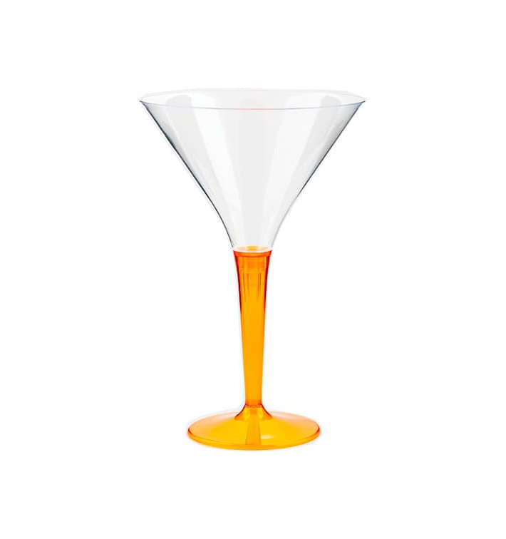 Coppa di Plastica Cocktail con Gambo Arancione 100 ml (6 Pezzi)