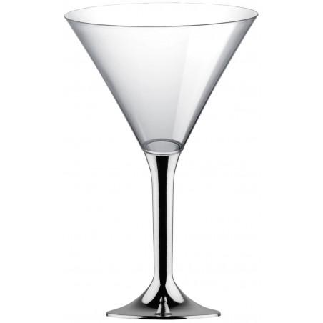 Coppa di Plastica Cocktail con Gambo Argento Cromato 185ml (200 Pezzi)
