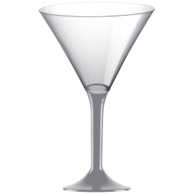 Calice di Plastica Cocktail Gambo Grigio 185ml (20 Pezzi)
