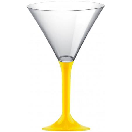 Coppa di Plastica Cocktail con Gambo Giallo 185ml (20 Pezzi)