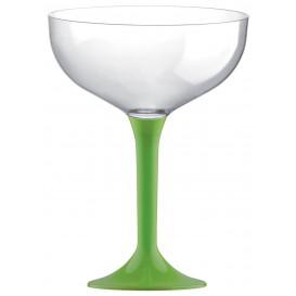 Coppa Plastica Champagne Gambo Verde Pistacchio 200ml 2P (20 Pezzi)