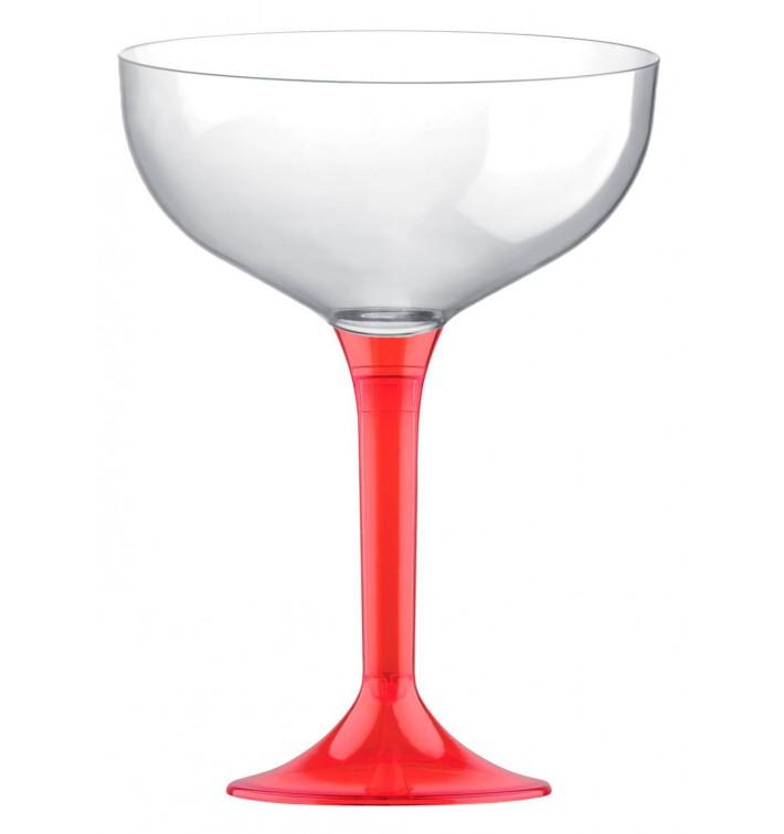 Coppa Plastica Champagne Gambo Red Transp. 200ml 2P (20 Pezzi)