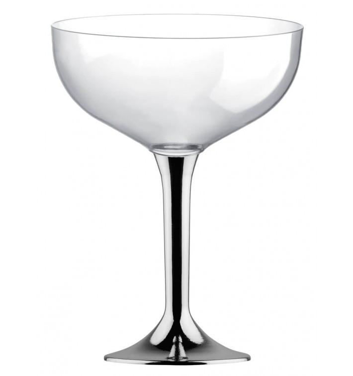 Coppa Plastica Champagne Gambo Argento Cromato 200ml 2P (20 Pezzi)