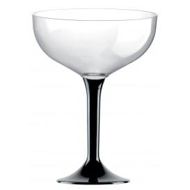 Coppa di Plastica da Champagne Gambo Nero 200ml (200 Pezzi)