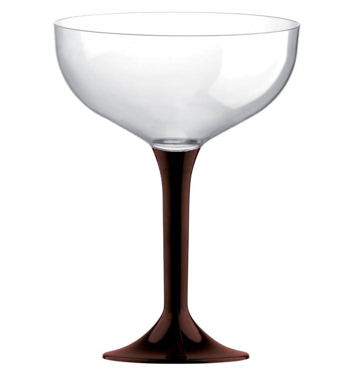 Coppa Plastica Champagne Gambo Marrone 200ml 2P (20 Pezzi)