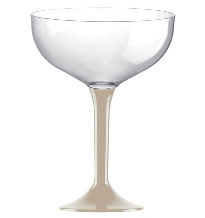 Coppa Plastica Champagne Gambo Beige 200ml 2P (20 Pezzi)