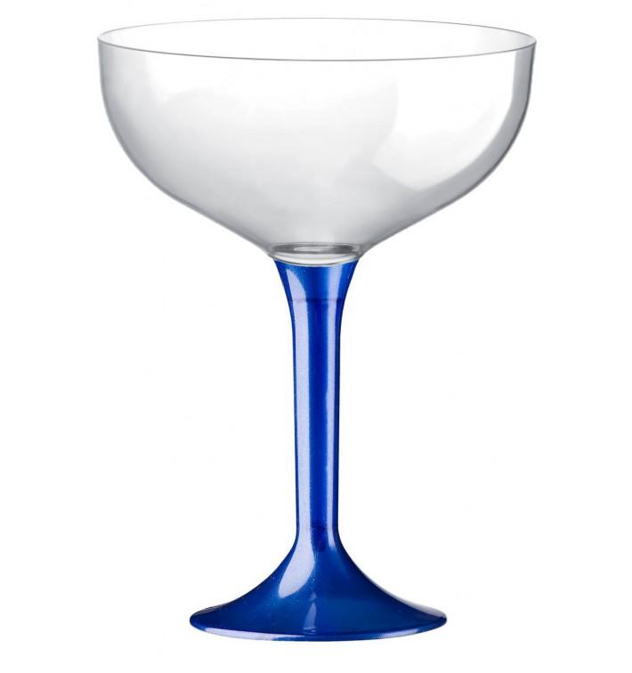 Coppa Plastica Champagne Gambo Blu Perlato 200ml 2P (20 Pezzi)