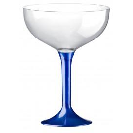 Coppa di Plastica da Champagne Gambo Blu Mediterraneo 200ml (20 Pezzi)