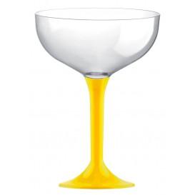 Coppa Plastica Champagne Gambo Giallo 200ml 2P (20 Pezzi)
