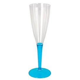 Calice di Plastica Flute Gambo Turchese 100ml (6 Pezzi)