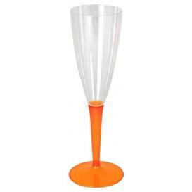 Calice di Plastica Flute Gambo Arancione 100ml (72 Pezzi)