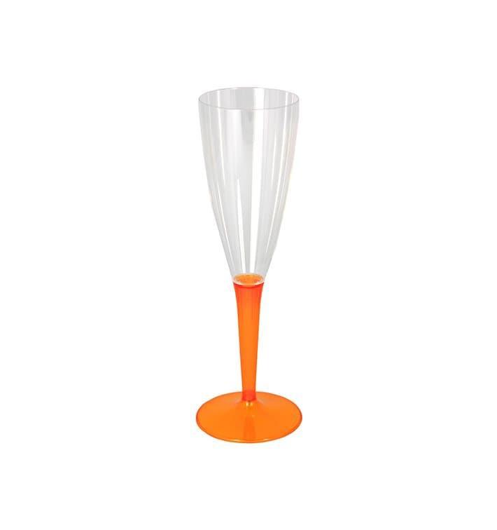 Calice di Plastica Flute Gambo Arancione 100ml (6 Pezzi)