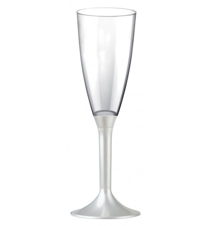 Calice Plastica Flute Gambo Bianco Perlato 120ml 2P (20 Pezzi)