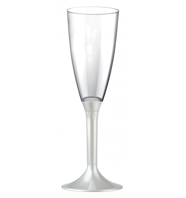 Calice Plastica Flute Gambo Bianco Perlato 120ml 2P (200 Pezzi)