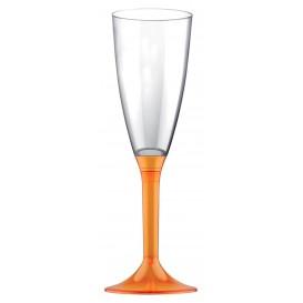 Calice Plastica Flute Gambo Arancio Transp. 120ml 2P (20 Pezzi)