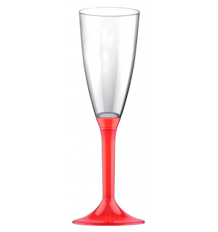 Calice Plastica Flute Gambo Red Transp.120ml 2P (200 Pezzi)