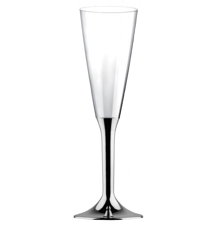 Calice Plastica Flute Gambo Argento Cromato 160ml 2P (200 Pezzi)
