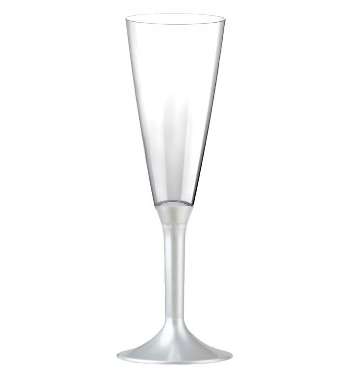 Calice Plastica Flute Gambo Bianco Perlato 160ml 2P (20 Pezzi)