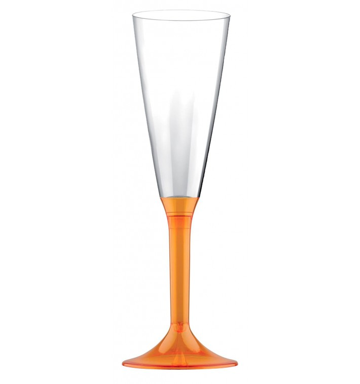 Calice Plastica Flute Gambo Arancione Transp. 160ml 2P (20 Pezzi)