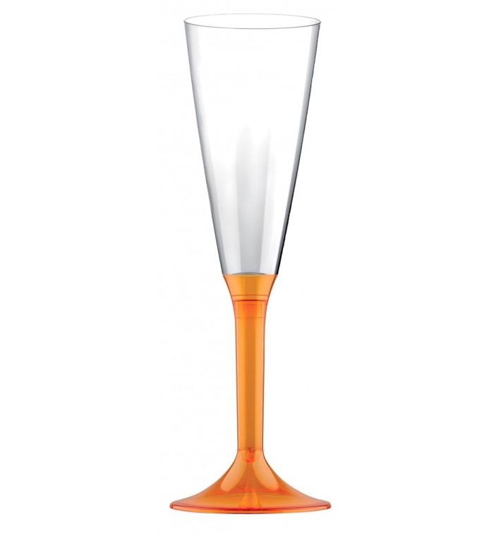 Calice Plastica Flute Gambo Arancione Transp. 160ml 2P (200 Pezzi)