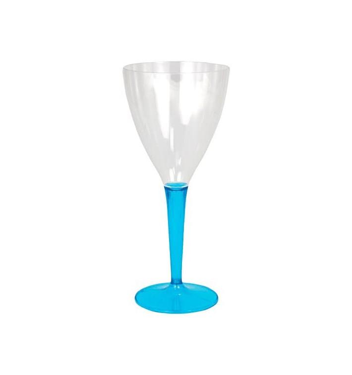 Calice di Plastica Vino Gambo Turchese 130ml (6 Pezzi)