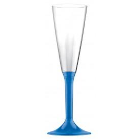 Calice di Plastica Flute Gambo Blu Transp. 160ml (200 Pezzi)