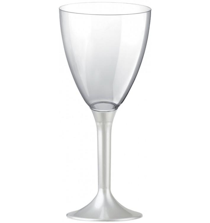 Calice Plastica Vino Gambo Bianco Perlati 180ml 2P (20 Pezzi)