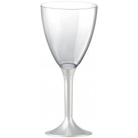 Calice Plastica Vino Gambo Bianco Perlati 180ml 2P (200 Pezzi)