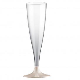 Flute di Plastica con Gambo Crema 140ml (20 Pezzi)